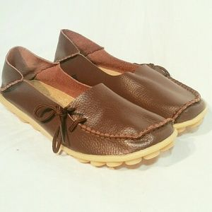 Socofy  brown leather slip ons